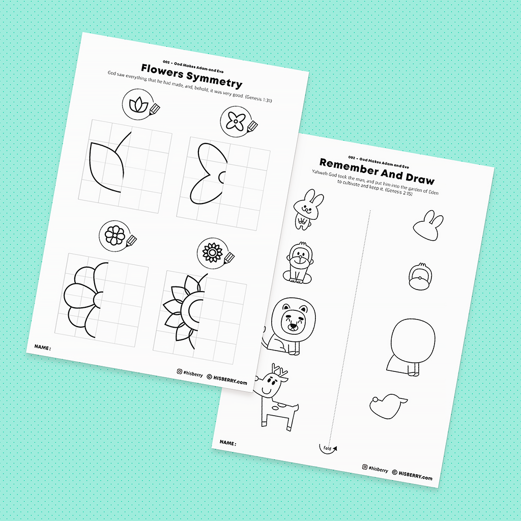 The Garden of Eden Adam and Eve-Drawing and Coloring Pages Pack