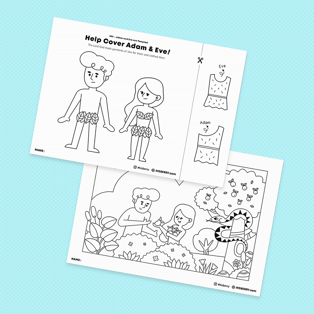 The Fall of Eden Adam and Eve 's sin  Bible lesson drawing coloring pages Printables for kids