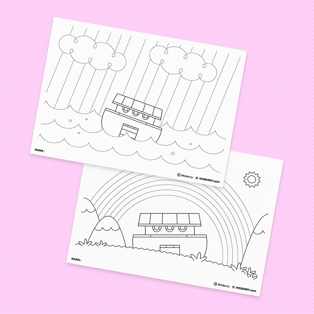 Noah builds the ark1 - Bible Drawing & Coloring Pages for Kid Lesson