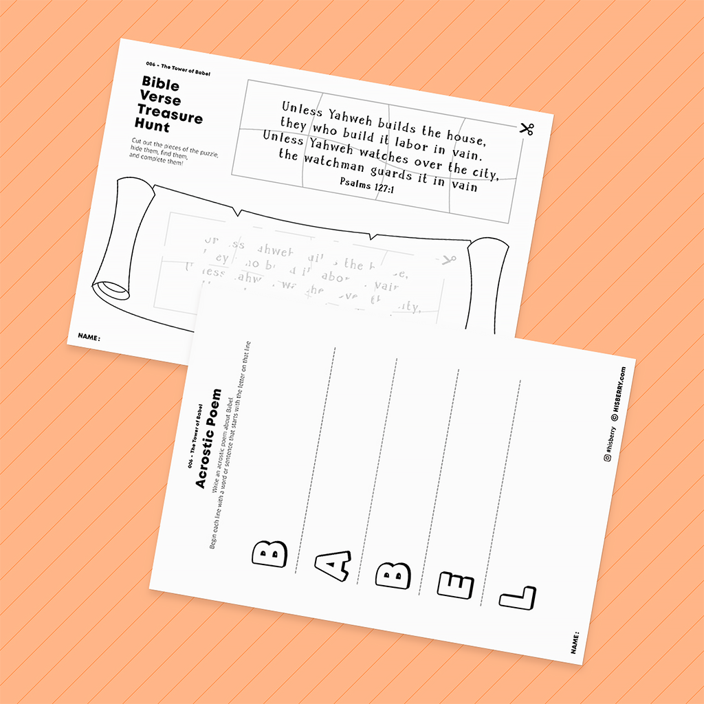 The Tower of Babel- Bible Verse Worksheet Pack for Kid Lesson