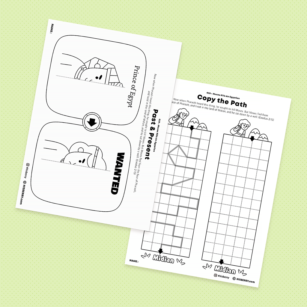 Moses Kills An Egyptian- Drawing Coloring Pages Printable