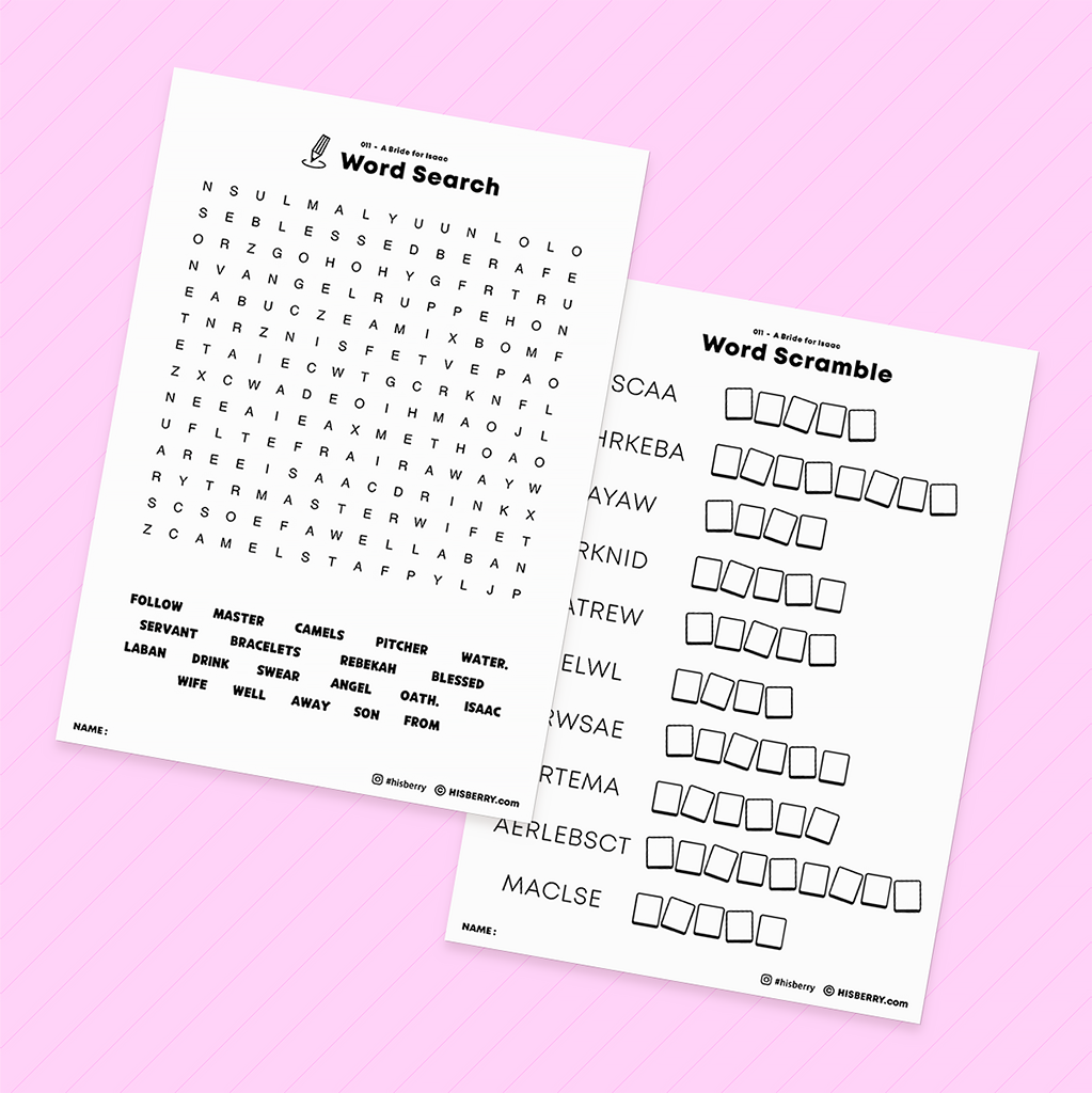 A Bride for Isaac - Bible Verse Activity Worksheets