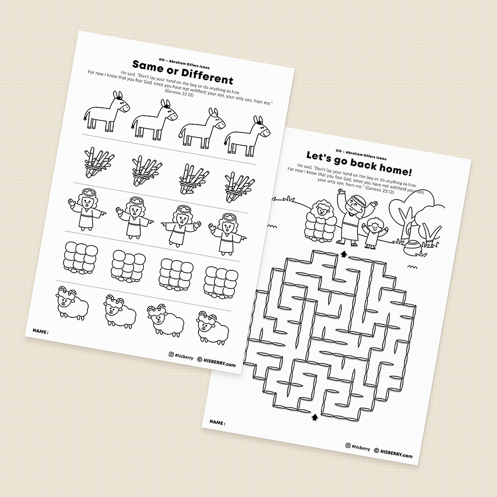 Abraham Offers Isaac - Bible lesson Activity Printables for kids