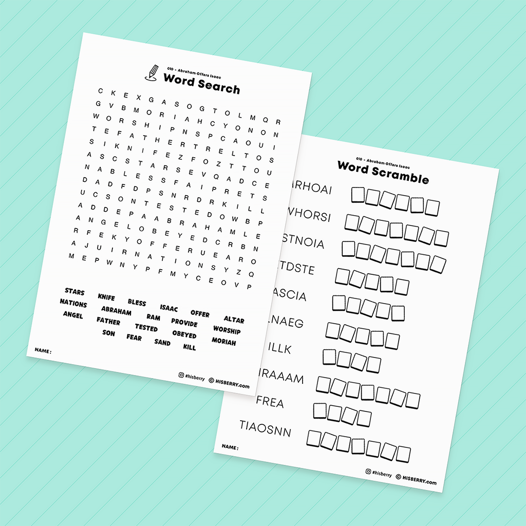 Abraham Offers Isaac - Bible Verse Activity Worksheets