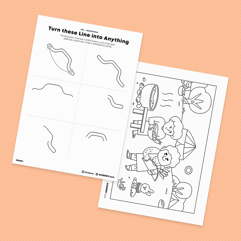 Jacob-and-Esau-Bible-drawing-Coloring-pages-printables