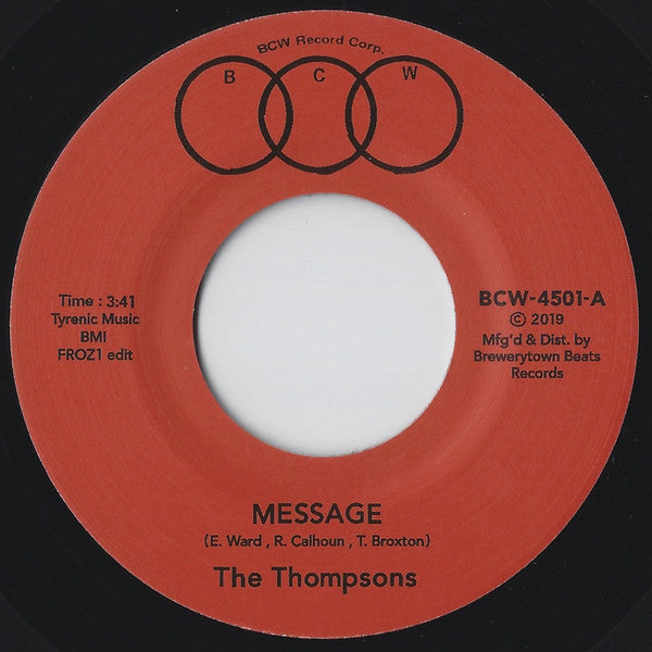 "The Thompsons ‎– Message (Froz1 Edit) (Vinyl 7"")"