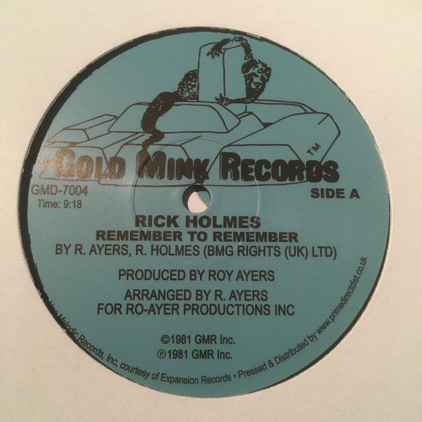 "Rick Holmes ‎– Remember To Remember (Vinyl 12"")"