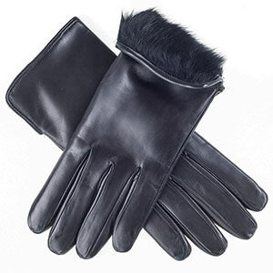 Women's Black Fur Lined Leather Gloves