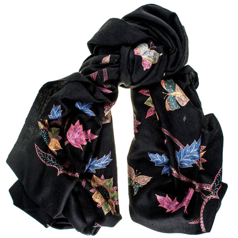 Hand Embroidered Flowers and Butterflies Black Cashmere Ring Shawl
