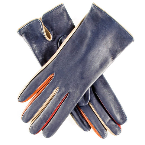 Navy Leather Gloves with Multi Tone Detail - Silk Lined
