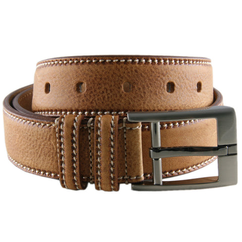Tan Speckled Leather Belt with Saddle Stitch - SOLD OUT