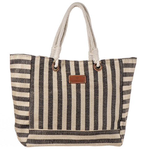 Andaman Black Striped Hessian Beach Bag lvmvojro