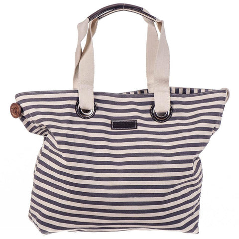 Andaman Black Striped Hessian Beach Bag jxm9S4