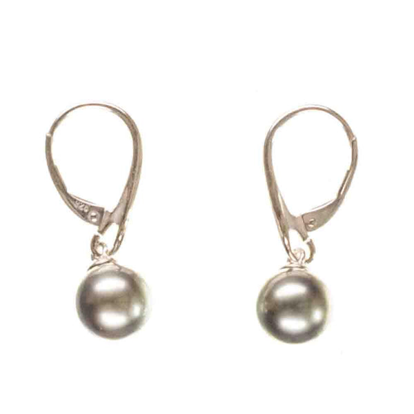 Ariadne Tahitian Black Pearl and Sterling Silver Earrings