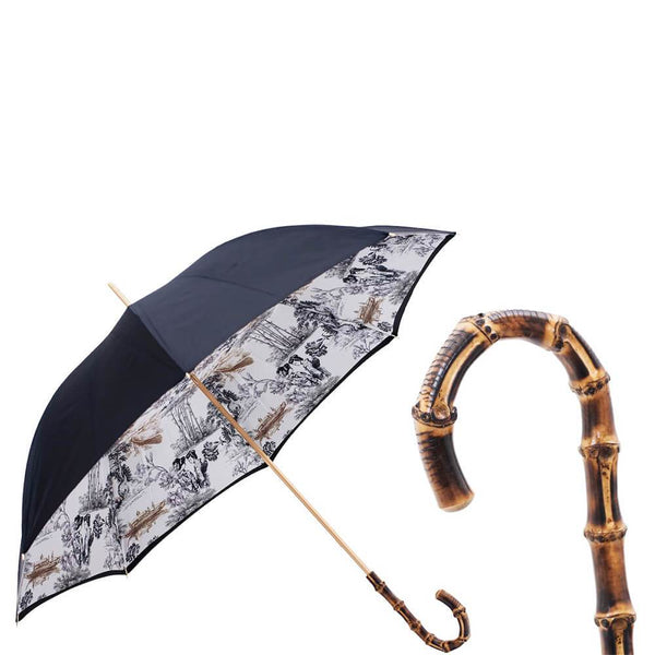 Black and White Japanese Print  Double Canopy Luxury Umbrella