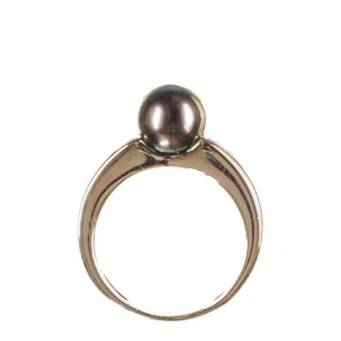 Aurora Tahitian Black Pearl and Sterling Silver Ring