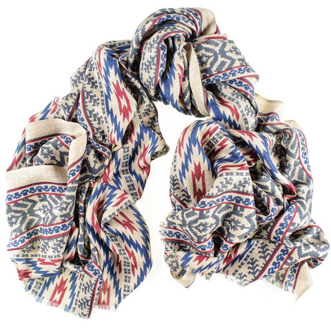 Aztec Print Silk and Merino Wool Scarf