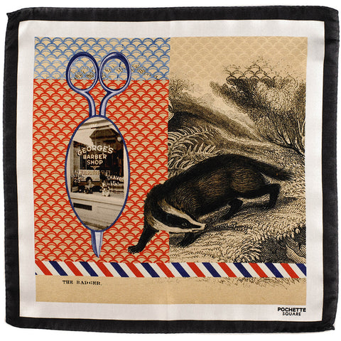'The Badger' Italian Silk Pocket Square