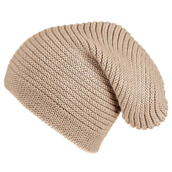Beige Cashmere Slouch Beanie Hat