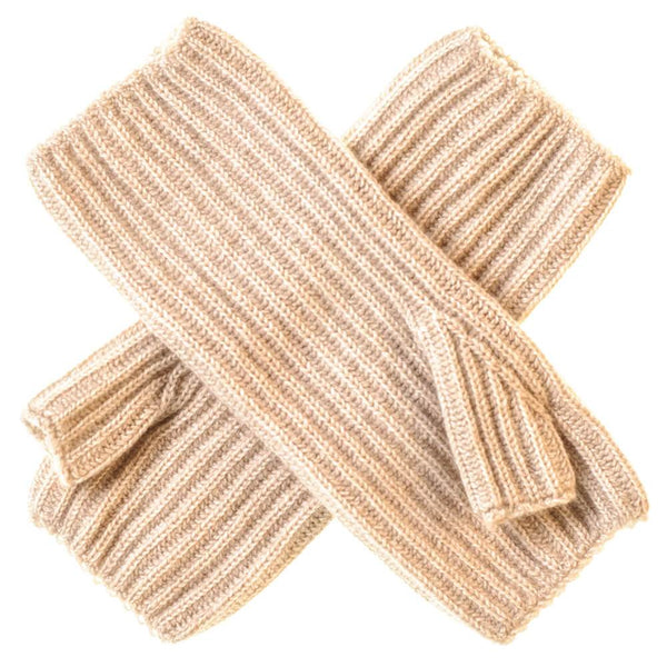 Beige Mid Length Cashmere Wrist Warmers