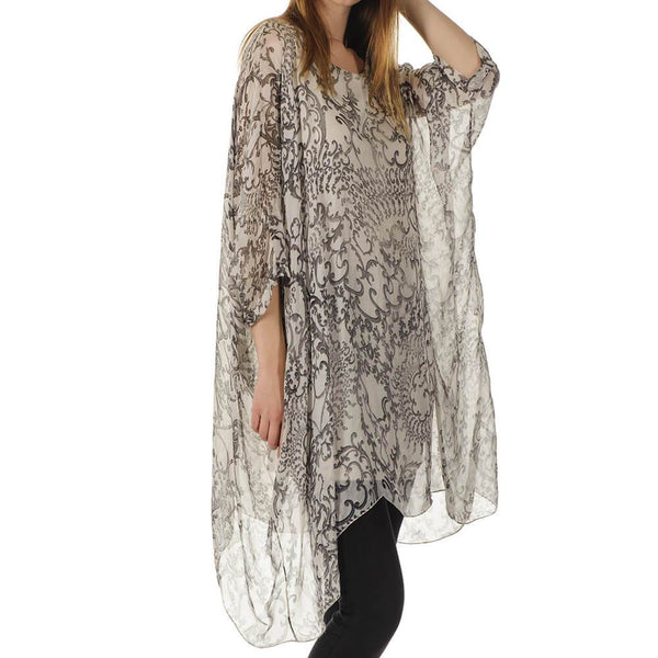 Melissa - Beige Print Silk Kaftan Dress