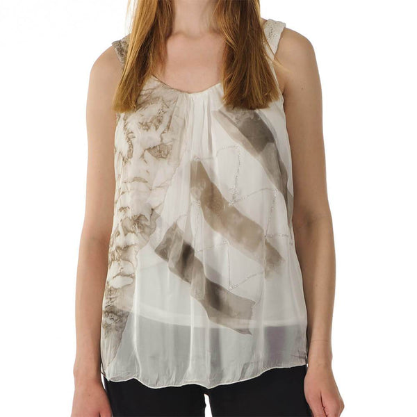 Elisa - Beige Silk Sleeveless Top