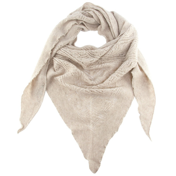 Honey Haze Italian Cashmere Lace Knit Triangular Scarf