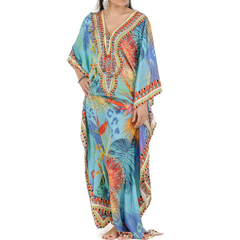 Birds of Paradise Print Embellished Kaftan