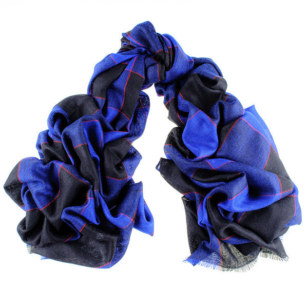 Black and Blue Check Cashmere Ring Shawl
