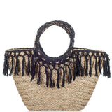 Andros Natural and Black Straw Tote