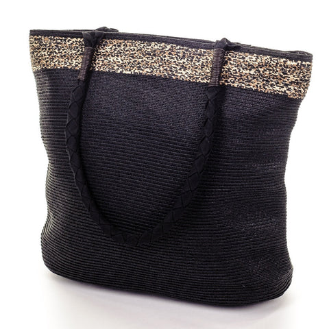 Black and Sand Beach Bag