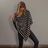 Hand Woven Chunky Striped Cashmere Poncho