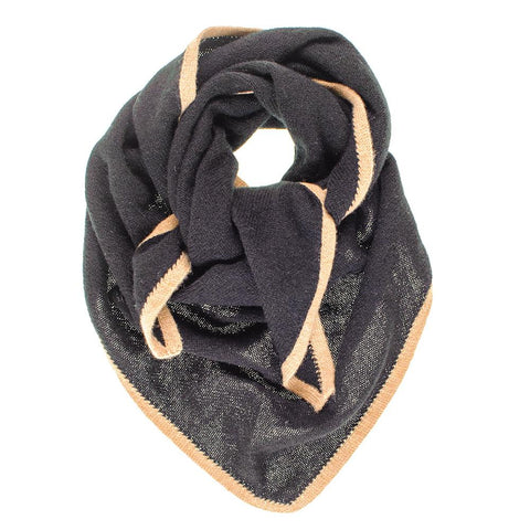 Black and Camel Triangle Cashmere Neck Tie