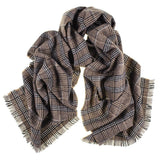 Large Taupe, Black and Ivory Check Cashmere Scarf