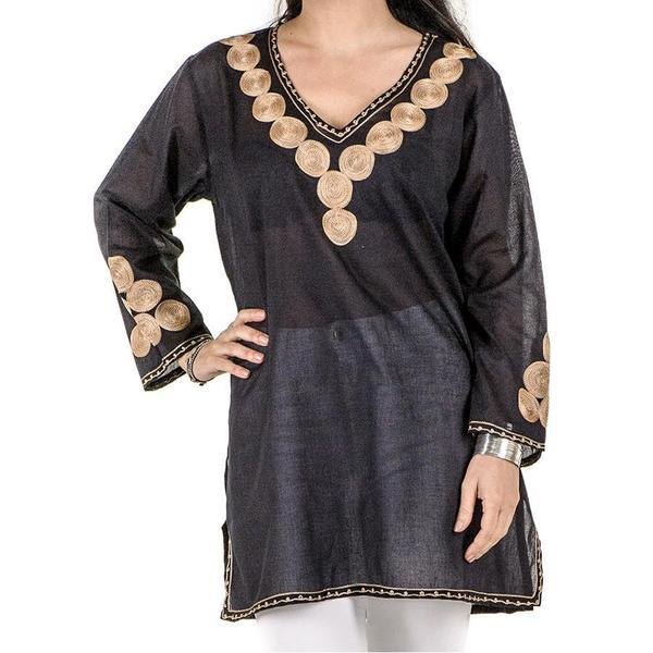 Black and Gold Embroidered Cotton Kaftan Top