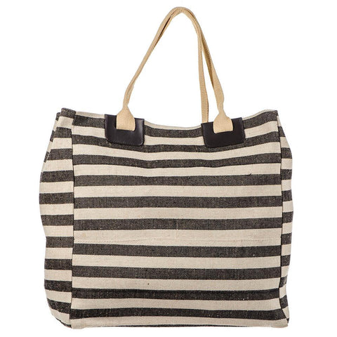 Black and Natural Linen Beach Bag