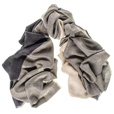 Shaftesbury Black and Natural Merino Wool and Silk Scarf