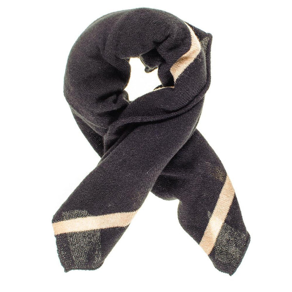 Black and Sand Cashmere Square Scarf