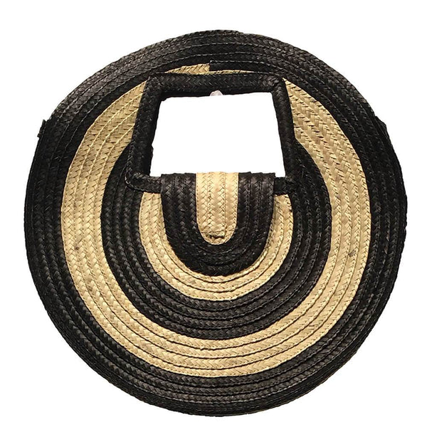 Monochrome Straw Round Bag