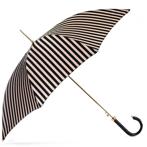 Black and Latte Stripe Luxury Umbrella