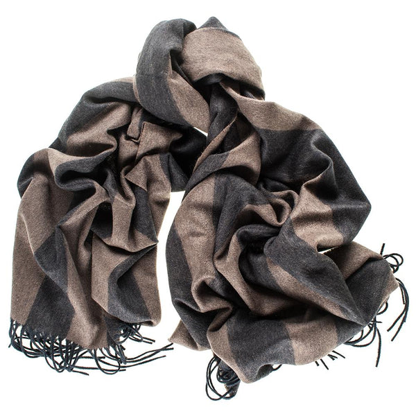 Oversize Taupe and Black Stripe Cashmere Blanket Scarf