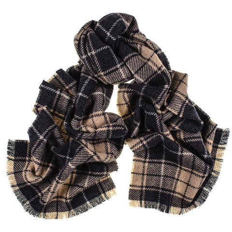 Black and Brown Tartan Cashmere Scarf