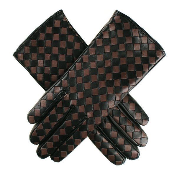 Black and Taupe Woven Leather Gloves- Cashmere Lined