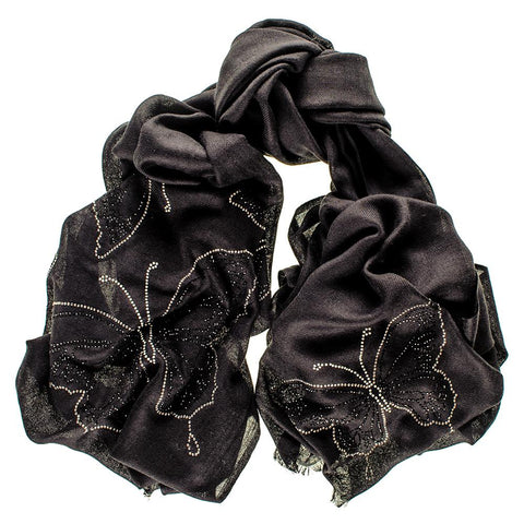 Butterfly Crystal  Black Cashmere and Silk Wrap