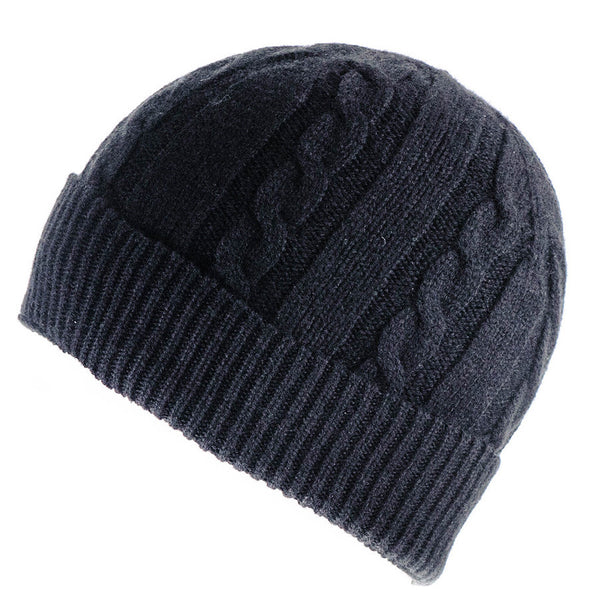 Black Cable Knit Cashmere Beanie