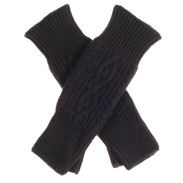 Long Black Cable Cashmere Wrist Warmers