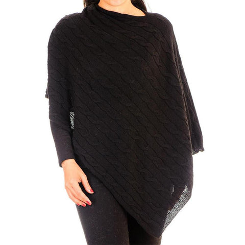 Black Cable Knit Cashmere Poncho