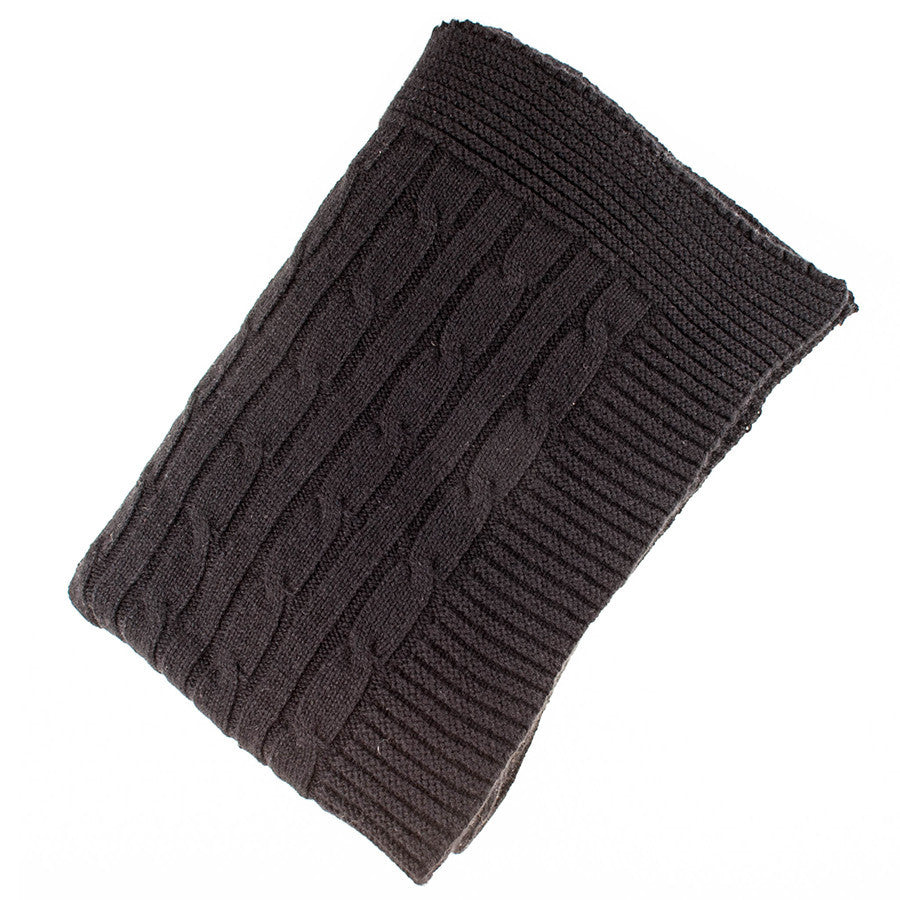 Black Cable Knit Cashmere Throw   Black.co.uk