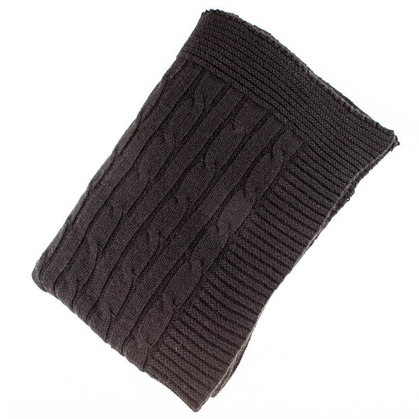 Black Cable Knit Cashmere Throw