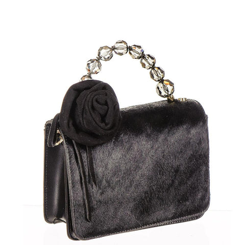 Black Calf Hair and Leather Mini Bag